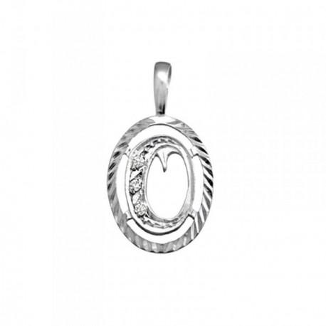 Colgante plata Ley 925m letra O circonitas cerco oval [AB3975]