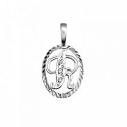 Colgante plata Ley 925m letra R circonitas cerco oval [AB3978]
