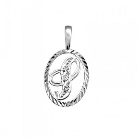Colgante plata Ley 925m letra S circonitas cerco oval [AB3979]