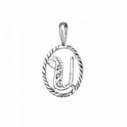 Colgante plata Ley 925m letra U circonitas cerco oval [AB3980]