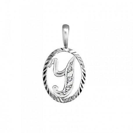 Colgante plata Ley 925m letra Y circonitas cerco oval [AB3982]