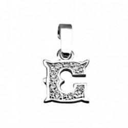 Colgante plata Ley 925m letra C circonitas modelo rústico [AB3986]