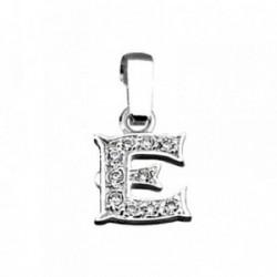 Colgante plata Ley 925m letra E circonitas modelo rústico [AB3988]
