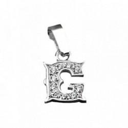 Colgante plata Ley 925m letra G circonitas modelo rústico [AB3990]