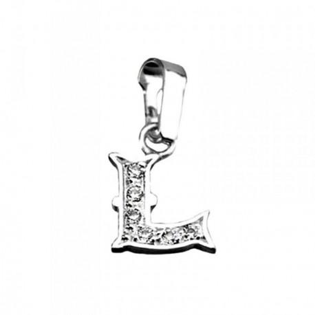 Colgante plata Ley 925m letra L circonitas modelo rústico [AB3995]