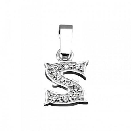 Colgante plata Ley 925m letra S circonitas modelo rústico [AB4002]