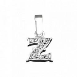 Colgante plata Ley 925m letra Z circonitas modelo rústico [AB4008]