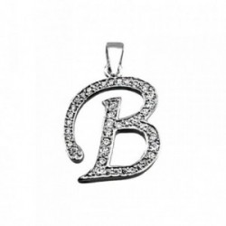 Colgante plata Ley 925m letra B piedras modelo inglesa [AB4010]