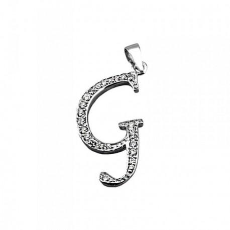 Colgante plata Ley 925m letra G piedras modelo inglesa [AB4015]
