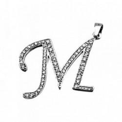 Colgante plata Ley 925m letra M piedras modelo inglesa [AB4019]