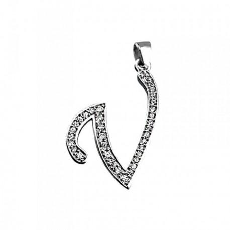 Colgante plata Ley 925m letra V piedras modelo inglesa [AB4026]