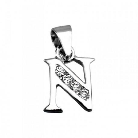 Colgante plata Ley 925m letra N circonitas [AB4030]