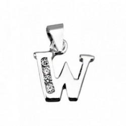 Colgante plata Ley 925m letra W circonitas [AB4034]