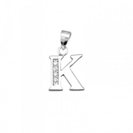 Colgante plata Ley 925m letra K piedras modelo recto [AB4063]