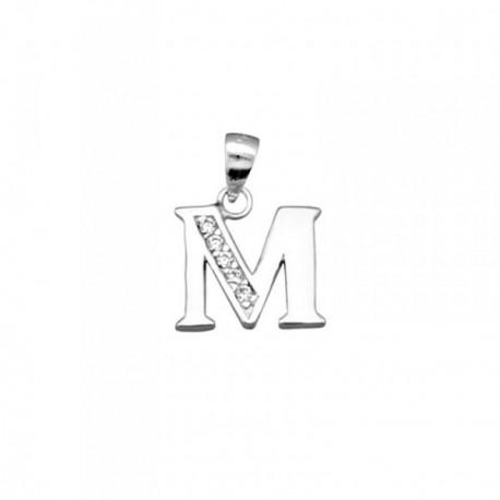 Colgante plata Ley 925m letra M piedras modelo recto [AB4065]