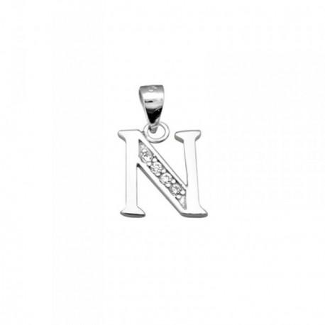 Colgante plata Ley 925m letra N piedras modelo recto [AB4066]