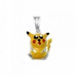 Colgante plata Ley 925m Pikachu Pokémon esmaltado 16mm. [AB4109]