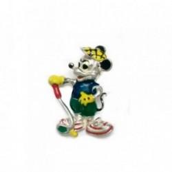 Colgante plata Ley 925m Mickey Mouse esmaltado golf 29.5mm. [AB4121]