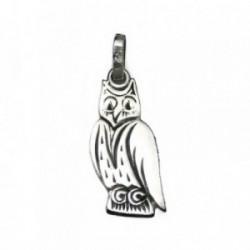 Colgante plata Ley 925m buho amuleto suerte rodiado 22.5mm. [AB4124]
