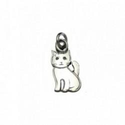 Colgante plata Ley 925m gato liso rodiado 20mm. [AB4125]