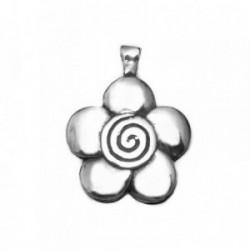 Colgante plata Ley 925m flor centro espiral 27mm. [AB4130]