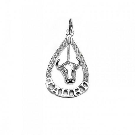 Colgante horóscopo plata Ley 925m nombre Tauro lágrima [AB4167]