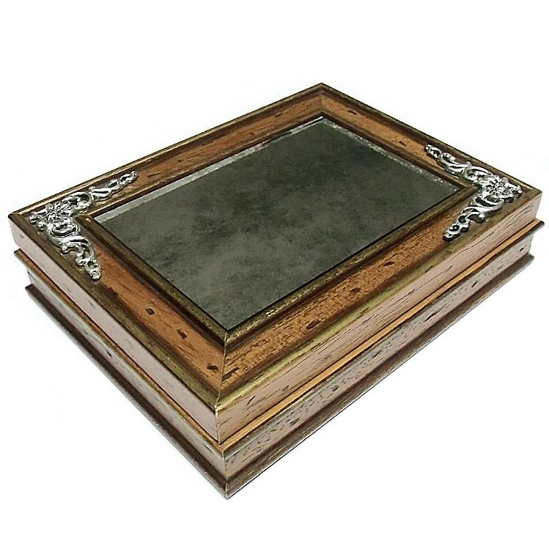 Joyero caja madera espejo envejecido 4319 for Espejo envejecido