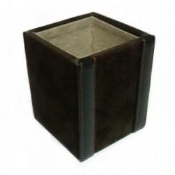 Portalápices cubo piel marrón [4328]