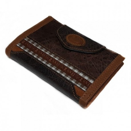 Agenda piel marrón filo cuadros documento tarjetas carnet [4563]