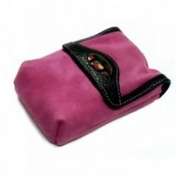 Pitillera piel rosa solapa crema botón clip [4583]