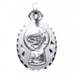 Medalla plata Ley 925m Virgen Niña 24mm. ovalada [8244]
