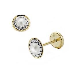 Pendientes oro 18k redondo circonitas 6mm. perla piedra fina [8016]