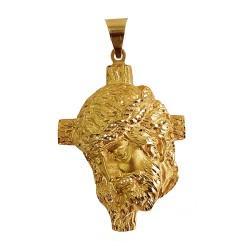 Cabeza rostro Cristo oro 18k cruz 53mm. [AB4185]