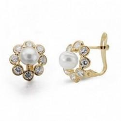 Pendientes oro 18k comunión perla circonita 11mm. [AB4202]