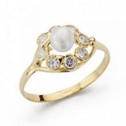 Sortija oro 18k comunión perla circonitas [AB4203]