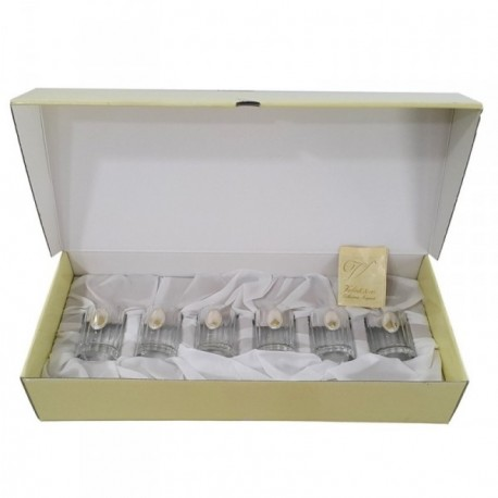 Set vasos chupitos cristal detalle plata Ley 925m [AB4208]