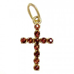 Colgante cruz oro granate [457]