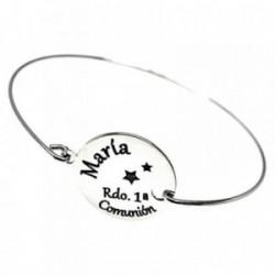 Pulsera plata Ley 925m rígida brazalete RECUERDO 1A COMUNIÓN dico 16mm nombre personalizado estrella
