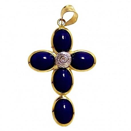 Colgante cruz oro imitación lapislázuli [465]