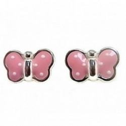 Pendientes plata Ley 925m mariposa esmaltada rosa [AB4296]