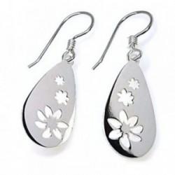 Pendientes plata Ley 925m gota 20 mm. motivos flores caladas [AB4301]