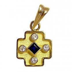 Colgante cruz oro zafiro [470]