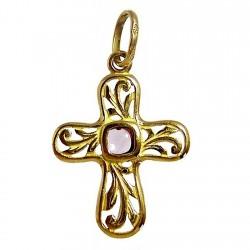 Colgante cruz oro amatista [471]