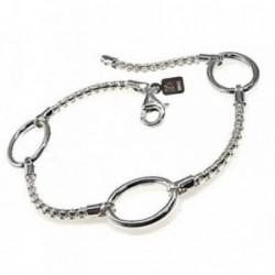Pulsera plata Ley 925m cadena coreana entrepiezas ovaladas [AB4334]