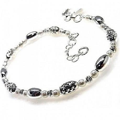 Pulsera plata Ley 925m bolas talladas tonelitos perlitas [AB4344]