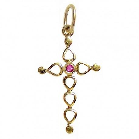 Colgante cruz oro rubí [464]
