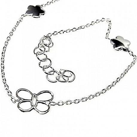 Pulsera plata Ley 925m cadena motivos mariposas flores [AB4353]