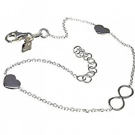 Pulsera plata Ley 925m cadena finita infinito corazones [AB4354]