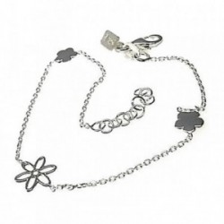 Pulsera plata Ley 925m cadena finita motivos flores [AB4358]