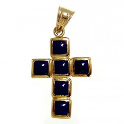 Colgante cruz oro 18k 19mm. piedras azules cuadradas borde mujer